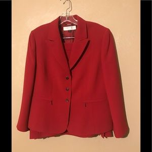 Tahari Petite red skirt suit size 14P.  Polyester